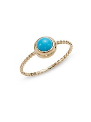 Anzie Classique Turquoise And 14K Yellow Gold Rope Ring