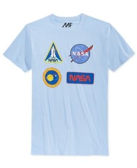 Mighty Fine Men's Nasa Graphic Print T Shirt Light Blue