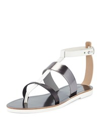 Vince Crete Leather T Strap Sandal Black Pewter Ivory