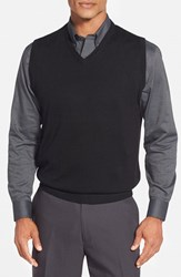 Men's Cutter And Buck 'Douglas' Merino Wool Blend V Neck Sweater Vest Black