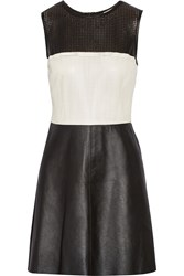 L'agence Laser Cut Leather Mini Dress Black