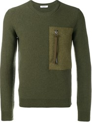 Valentino Zipped Pocket Jumper Green