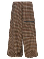 Marques Almeida Wide Leg Hound's Tooth Wool Trousers Multi
