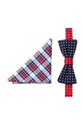 Alara Silk Washington Dots Bow Tie And Pocket Square Set Blue