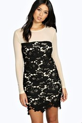 Boohoo Marie Lace And Mesh Bodycon Dress Black