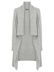 Oasis Draped Tweed Cardigan Mid Grey