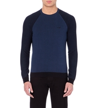 Armani Jeans Knitted Crew Neck Jumper Navy