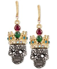 Betsey Johnson Two Tone Pave And Crystal Crowned Skull Drop Earrings Multi