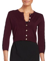 Karl Lagerfeld Lace Trimmed Cardigan Plum