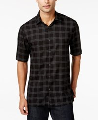Alfani Short Sleeve Plaid Print Shirt Only At Macy's Deep Black
