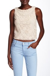 Alice Olivia Finlay Fitted Crochet Embroidered Tank White