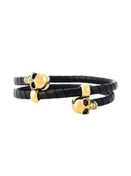 Alexander Mcqueen Leather Wrapped Skull Bangle Black