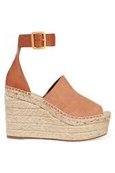 Chloe Suede And Leather Espadrille Wedge Sandals