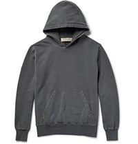 Remi Relief Distressed Loopback Cotton Jersey Hoodie Gray