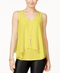 Amy Byer Bcx Juniors' Flyaway Front Tank Top With Necklace Yellow