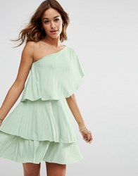 Asos One Shoulder Tiered Pleated Mini Dress Mint Green