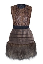 James Lakeland Faux Fur Gilet Black Multi