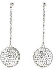 Kenneth Jay Lane Crystal Pave Ball Drop Earrings Silver