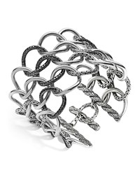 John Hardy Women's Sterling Silver Classic Chain Lava Round Link Extra Wide Bracelet With Black Sapphires Silver Black