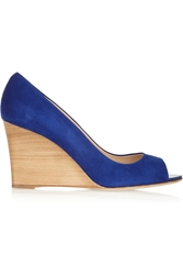 Tod's Suede Wedge Pumps Blue
