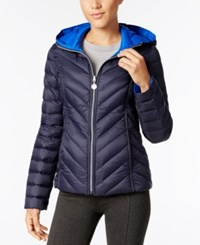 Nautica Reversible Hooded Packable Puffer Coat Only At Macy's Marine Cobalt