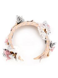 Maison Michel Flower Embellished Hair Band Pink And Purple