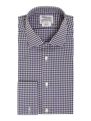 T.M.Lewin Gingham Slim Fit Long Sleeve Classic Collar Forma Navy