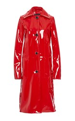 Proenza Schouler Single Breasted Patent Leather Coat Red