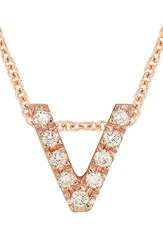 Bony Levy Women's Pave Diamond Initial Pendant Necklace Nordstrom Exclusive Rose Gold V