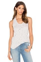 Bobi Slubbed Ripped Holes Scoop Neck Tank Gray