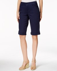 Charter Club Petite Roll Tab Cuffed Bermuda Shorts Only At Macy's Intrepid Blue