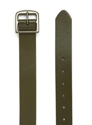 Topman Khaki Leather Look Belt Green