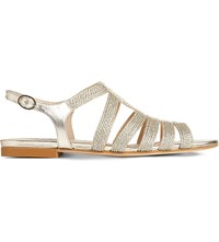 Lk Bennett Ripley Leather Sandals Gol Pale Gold