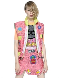 Maid In Love Patches On Techno Blend Brocade Vest