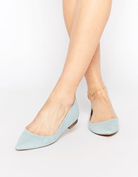Asos Lost Pointed Ballet Flats Denim