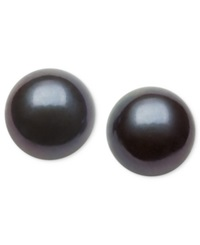 Belle De Mer Pearl Earrings 14K Gold Dyed Black Cultured Freshwater Pearl Stud Earrings 9Mm