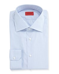 Isaia Solid Woven Dress Shirt Basic Blue