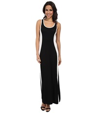 Calvin Klein Rayon Span Maxi Cd4n13k4 Black White Women's Dress