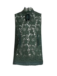 N 21 High Neck Sleeveless Lace Top Dark Green