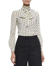 Red Valentino Polka Dot Silk Crepe De Chine Blouse Ivory Black