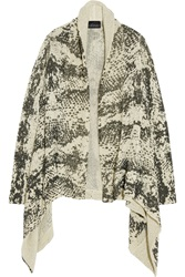 Line Perry Snake Print Textured Cotton Cardigan