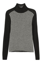 Marni Paneled Wool And Cashmere Blend Turtleneck Sweater Black