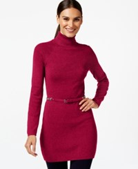 Inc International Concepts Petite Belted Turtleneck Tunic Only At Macy's Real Red