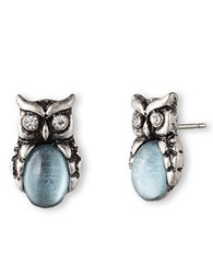 Lonna And Lilly Silvertone Sky Blue Stone Owl Stud Earrings