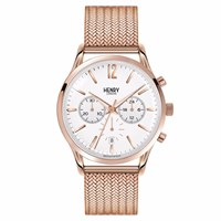 Henry London 41Mm Men's Richmond Chronograph Stainless Steel Bracelet Watch Rose Gold Silver