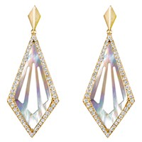 She Adorns Mother Of Pearl Cut Out Kite Earrings Golden