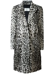 Yves Salomon Leopard Print Coat Grey