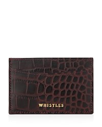 Whistles Shiny Croc Embossed Card Case Burgundy