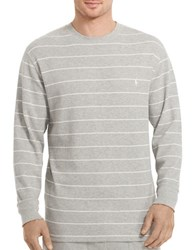 Polo Ralph Lauren Waffle Knit Striped Crewneck Pullover Andover Gray