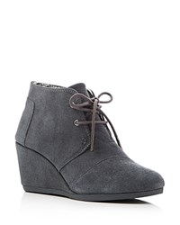Toms Desert Wedge Lace Up Booties Castle Rock Gray